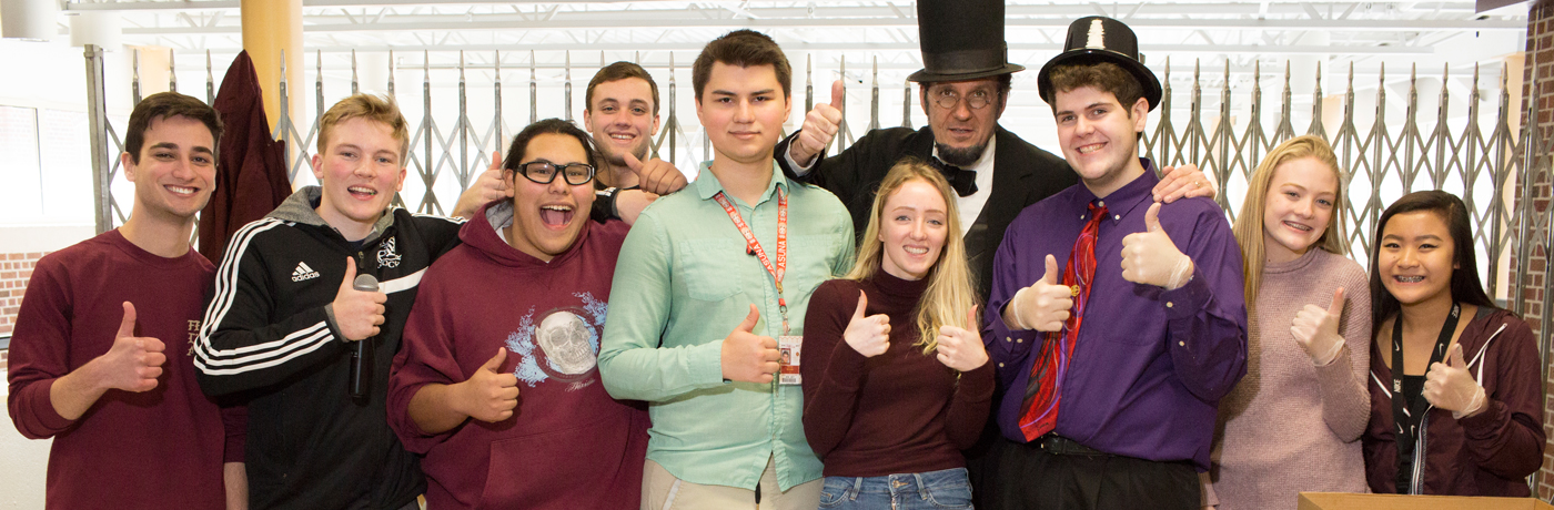 Lincoln High School Students Posing with Abe Lincoln