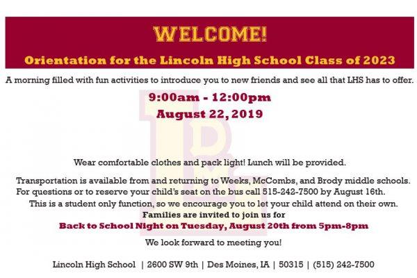 Freshmen Orientation is August 22!